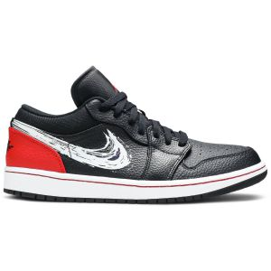 Air Jordan 1 Low 'Brushstroke Swoosh - Black Red' DA4659 001