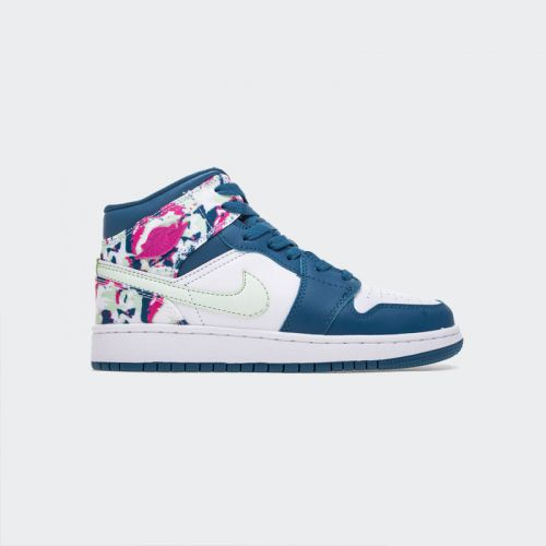 Air Jordan 1 Mid(GS) White Blue 555112-300
