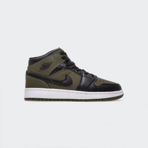 Air Jordan 1 Mid (GS) Olive Canvas Black White 554725-301