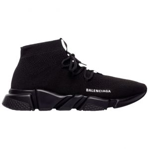Balenciaga Wmns Speed Lace Up Knit Sock Trainer 'Knitted Black' 559353 W1HP0 1000