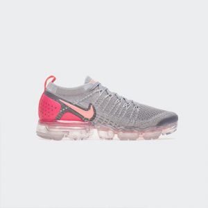 Women Nike Air VaporMax Flyknit 2 942843-005 Grey Crimson Pulse