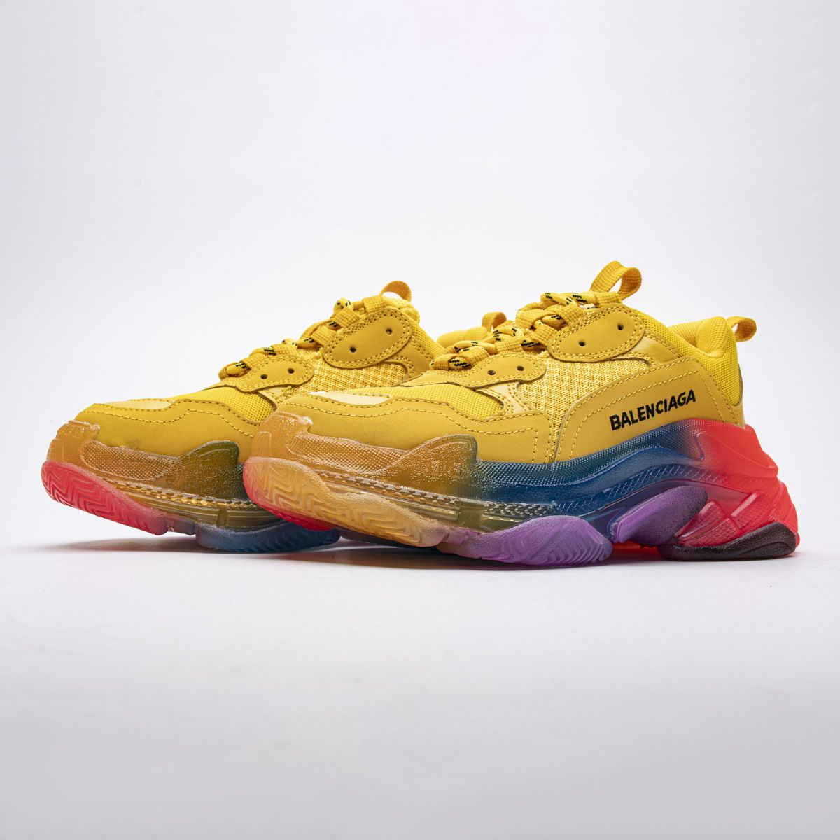 Shop the Summer 2020 Balenciaga Triple S Clear Sole Trainers Rainbow Yellow
